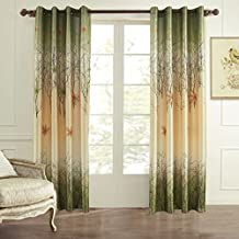 Scenery Curtains Green Tree Drapes - KoTing 2 Panel Print Maple Living Room Curtains 84 inch Length