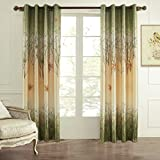 """KoTing 2 Panels Green and Yellow Maple Tree Lined Window Curtains Drapes for Bedroom Living Room,Each Piece 72""""W x 84""""L(Grommet Top)"""