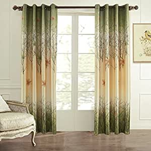 Koting 2 panels green and yellow maple tree lined window curtains drapes for bedroom - Amazon curtains living room ...