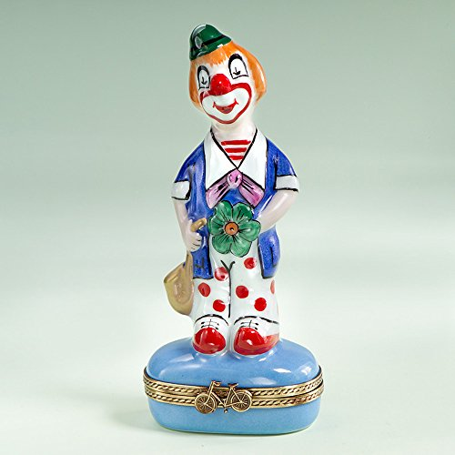 Authentic French Hand Painted Limoges Porcelain Clown with Flower (Limoges Birthday Limoges Box)