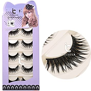 ea9d56012ed Amazon.com : 5 Pairs Long Thick Makeup False Eyelashes Fake Eye Lash  Extension Handmade Soft : Beauty