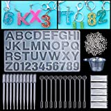Resin Casting Molds,141 Mold Tools Kit Including 1 Letter and Number Silicone Casting Molds Set Kit,Screw Eye Pins,Disposable Plastic Cups,Stirrers,Droppers,Disposable gloves for DIY Craft(145-Number)