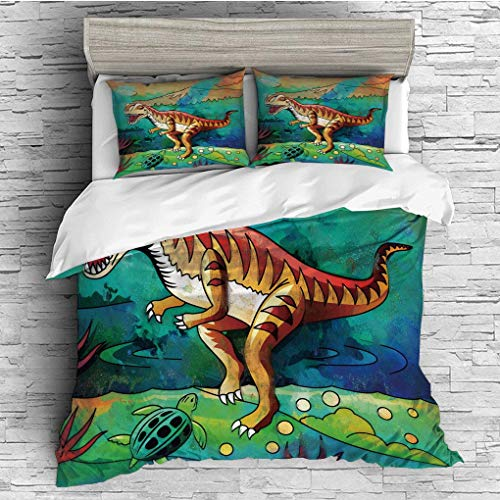 3 Pieces/All Seasons/Home Comforter Bedding Sets Duvet Cover Sets for Adult Kids/Double/Dinosaur,Colorful Illustration of Velociraptor in Prehistoric Natural Wild Enviro