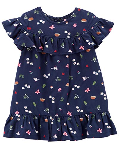 Carter's Baby Girls' 0M-24M Summer Dresses with Diaper Covers (Navy/Sweet Dove, 12 Months)