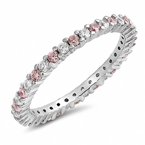 Blue Apple Co. Full Eternity Stackable Wedding Band Ring Simulated Pink & Clear CZ 925 Sterling Silver,Size-5