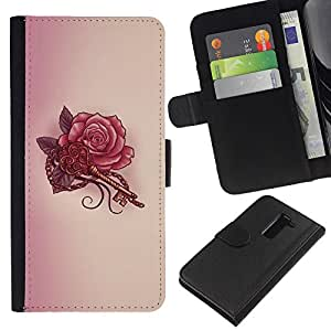 For LG G2 D800 Case , Key Tattoo Red Ink Drawing Art - la tarjeta de Crédito Slots PU Funda de cuero Monedero caso cubierta de piel