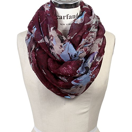 Scarfand's Mixed Color Oil Painting Infinity Scarf (BrushStroke Rose ()