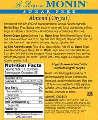 Monin Sugar Free Almond Syrup 750ml Bottle