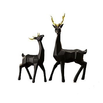 Artisanat Geometrie Coins Noir Et Blanc Elk Deer Decoration Animaux