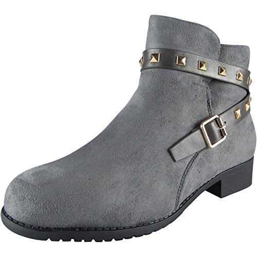New Womens Buckle Strap Studs Ankle Boots Size 3-8 Grey SdBzn1BE