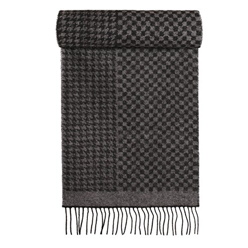 AROSA Men's Soft and Luxurious 100% Pure Wool Long Winter Scarf, Premium Quality (A521WS BLK/Gry Houndstooth) - Herringbone Stripe Scarf