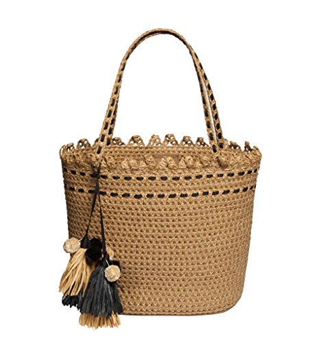 Eric Javits Luxury Fashion Designer Women's Handbag - Squishee Bardot - Natural/Black (Squishee Clip)
