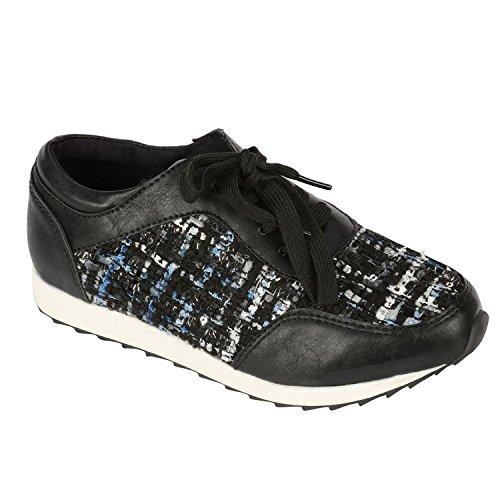 Mujeres Relucientes Stuff Classic Asorted Flat Flat Running Zapatillas Zapatos Con Cordones Black-1