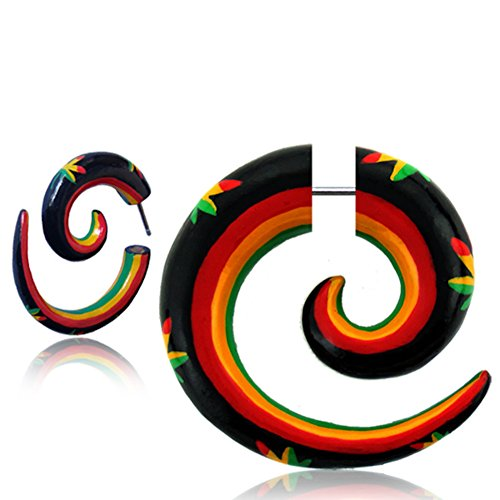 Earth Accessories Fake Gauge Spiral Earrings with Painted Organic Wood and Surgical Steel - Sold as a Pair ()
