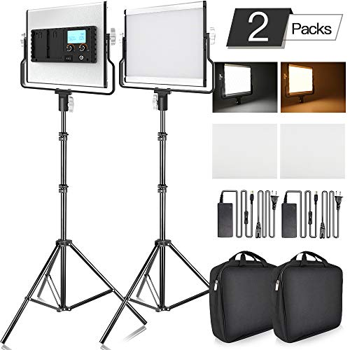 (FOSITAN LED Video Light with 2M Stand Bi-Color 3960 Lux 200 SMD CRI 96+ U-Bracket LCD Display Metal Shell Video Lighting Kit for Studio Photography Shooting (2 Packs))