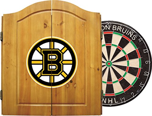 (Imperial Officially Licensed NHL Merchandise: Dart Cabinet Set with Steel Tip Bristle Dartboard and Darts, Boston Bruins )