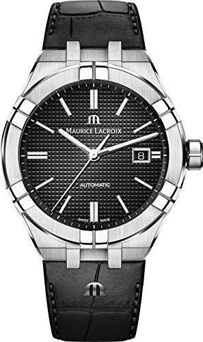 Maurice Lacroix Men's Aikon Automatic 42 mm Watch | Black/Black Leather