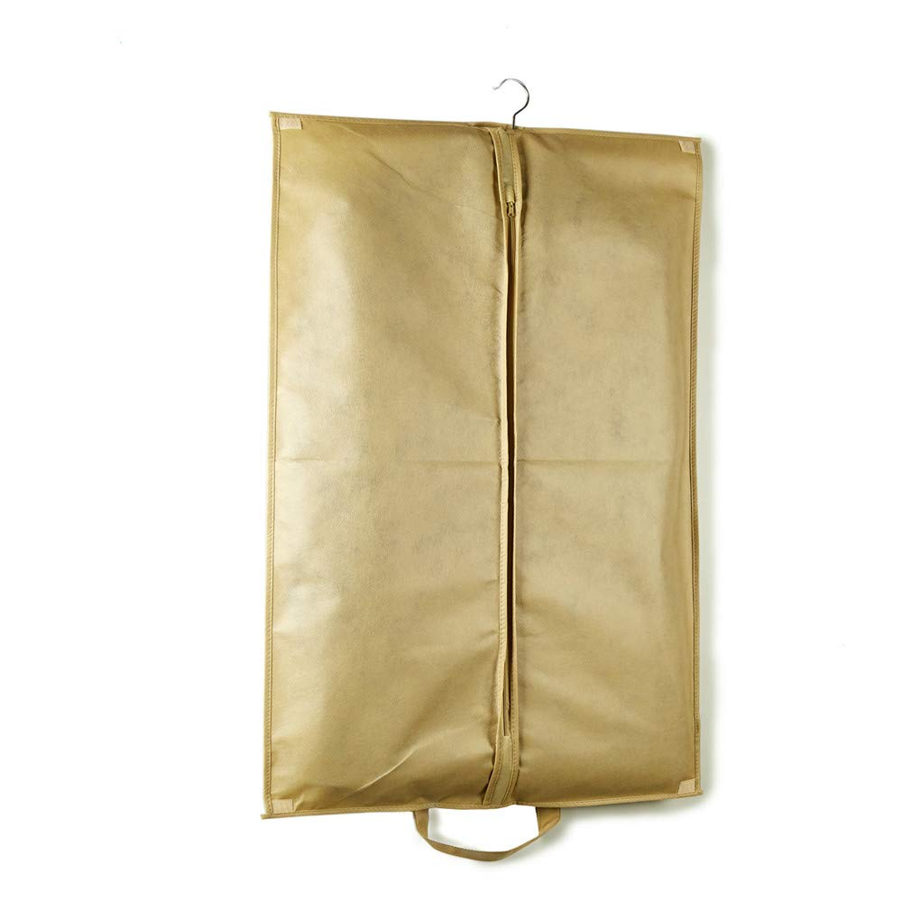 KSUNSEVEN Beige Color Hanging Storage Bag Pack of 3 60100cm Medium Size for Suit Garment Bag Covers Carriers Storage Or Suit Bag Dress Outer Coat Travel with Clear Window