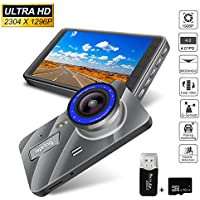 Full HD 2K 1296P Dash Cam 4.0 Inch Screen Car DVR 170 Degree Wide Lens Angle Dash Camera Recorder Support ADAS, Night Vision, WDR, Loop Recording (Silver)