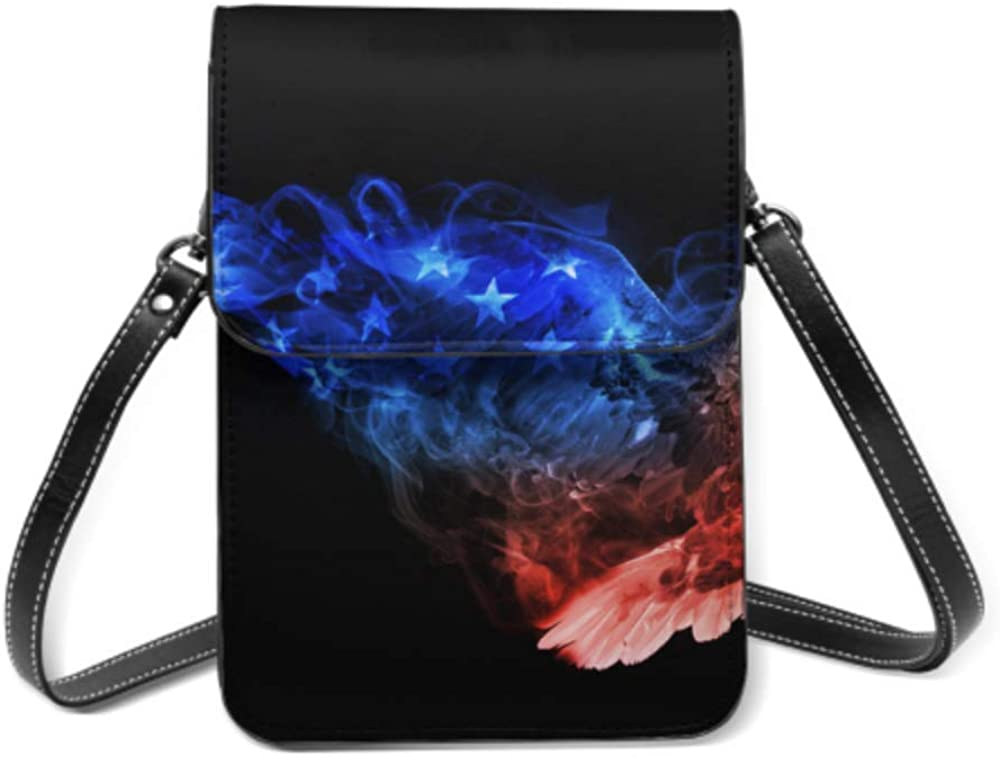 Beautiful Image Bald Eagle Animal Kingdom Lightweight Leather Phone Purse Small Crossbody Bag Mini Cell Phone Pouch Shoulder Bag For Women