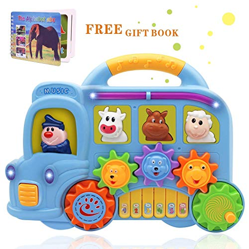 arning and Development Toddler Fun Musical Car Piano Keyboard Electronic Educational Toys with Lights, Sounds and Animals Set for Toddlers Gift(Random Color) ()