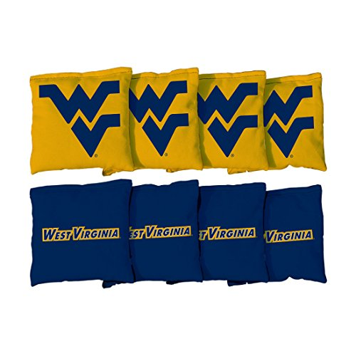 West Virginia Mountaineers Bag (8 West Virginia WVU Mountaineers Regulation Cornhole Bags (corn filled))