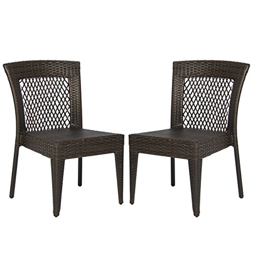 Best Choice Products Outdoor Wicker Chairs Patio Dining Backyard Stackable Garden Furniture Seat Set of 2