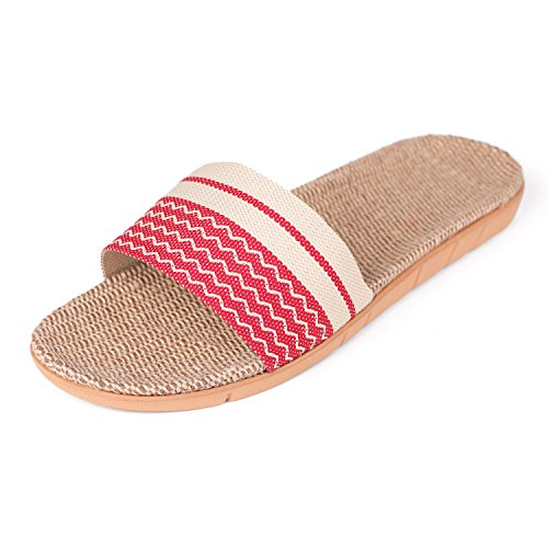 Slippers Slippers Red Summer Outdoor Linen Insole Sandals Indoor House Unisex Flat Slide qwAxvnUvE4