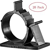 Cable Clips, GLE2016 Self-Adhesive Wire Holder Cable Organizer Cord Management Clamps with Adjustable Backed 20 Pack Black (XX-Large)