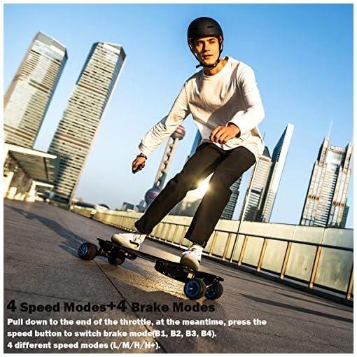 Teamgee H20T Skateboard électrique 965mm Longboard avec télécommande sans fil Bluetooth Pneus en caoutchouc Roues pour adolescents et adultes, 42KPH Top Speed, 1200W Hub Motors