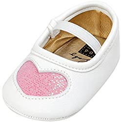 Birdfly Baby Girls Glitter Sequins Heart Crib Shoes Cute Ballet Flat Anti-Slip Soft Sole Dress Up Shoes for Crawling Infants Newborn Toddlers Prewalker (6-12 Months, Pink)