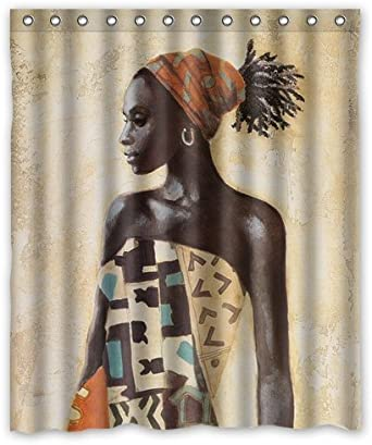 African Beauty Lady Extra Long Art Shower Curtain Waterproof Polyester Fabric