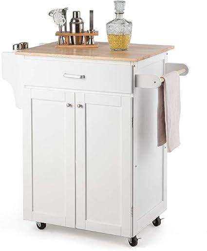 costway chariot de cuisine desserte de service a roulettes meuble de rangement avec 3 etageres 1 tiroirs et 1 rangement 82 x 48 x 90cm