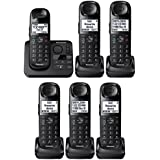 Panasonic KX-TGL433B / KX-TG3683B plus three KX-TGLA40B Dect 6.0 6-Handset Landline Telephone, Black (Certified Refurbished) (KX-TGL432B +4)