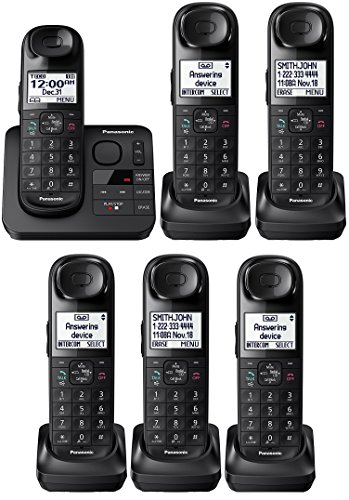 Panasonic KX-TGL433B / KX-TG3683B plus three KX-TGLA40B Dect 6.0 6-Handset Landline Telephone, Black (Certified Refurbished) (KX-TGL432B +4)