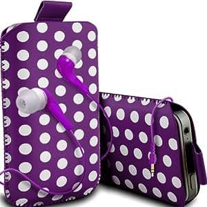 ONX3 ZTE Blade Q Maxi Leather Slip protectora Polka PU de cordón en la bolsa del lanzamiento rápido con 3.5mm MP3 en la oreja los auriculares ergonómicos (púrpura)