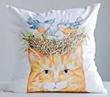 Orange Tabby Cat With Blue Bird Nest Bright White 18 x 18 Cotton Throw Pillow