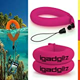 iGadgitz 2 Pack Neon Pink Waterproof Floating Wrist Strap suitable for Underwater/Waterproof: Cameras, Video cameras, cases & housing, Marine binoculars + Waterproof Sony phones