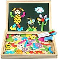 Puzzles en Bois Magnétiques | Puzzle 100 Pièces avec Tableau Double Face | InnooBaby | Planche à Dessin avec Stylos Colorés et Craies | Jouet et Cadeau Educatif pour Enfants 3 Ans et Plus