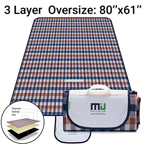 MIU COLOR Outdoor Picnic Blanket 3 Layers Thickened Extra Large 80