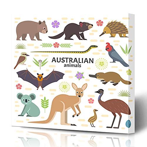 Ahawoso Canvas Prints Wall Art 12x16 Inches Flat Wombat Australian Flying Fox Kangaroo Nature Egg Emu Koala Platypus Australia Design Decor for Living Room Office Bedroom