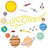 Space Exploration Wall Decals – Fun and Educational Planets of the Solar System – Easy Peel Stickers Picture