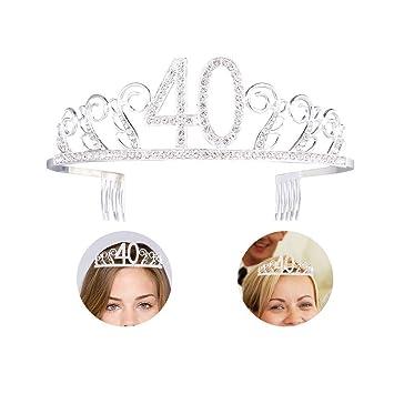 Amazon.com: Tiara de 40 cumpleaños y diadema de cristal con ...