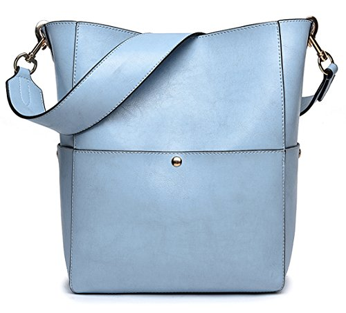 Shoulder Leather Purse Women's Tote Retro Bucket Handbag Blue from Bag Light Hobo Dreubea 0wpx1Rwq