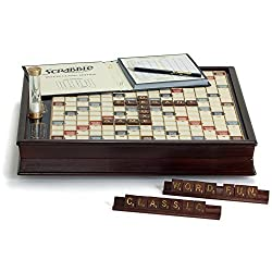 Winning Solutions Scrabble Deluxe Wooden Edition With Rotating Game Board