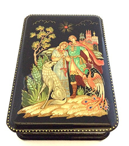 BuyRussianGifts Russian lacquer box Hand painted Ivan Tsarevich, Greywolf and Firebird Signed by the artist