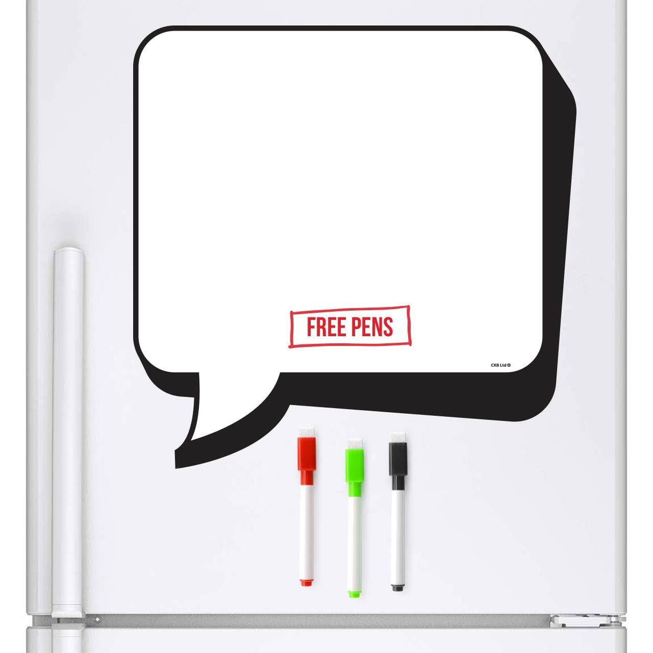 CKB Ltd® Lavagnetta magnetica a forma di nuvoletta in stile fumetto, con pennarello bianco e cancellino, cancellabile a secco, perfetta comeagenda giornaliera e promemoria per la cucina, ampio spazio per scrivere, dimensioni 32x 32cm