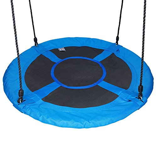 Hi Suyi 100cm Disc Giant Nest Web Hanging Tree Swing Seat Set Heavy Duty Easy to Set Up For Kids Childrens Outdoor Backyard Garden Blue