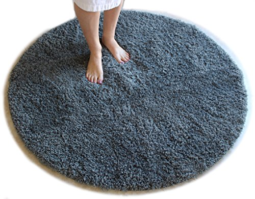 Gray Bath Mat Round Rug Shag Non Slip Ultra Plush Microfiber Highly Water Absorbent Durable and Washable for Bathroom 4 Feet Round (Mat Bath Circle)
