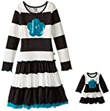 dollie me clothing - Dollie & Me Big Girls' Knit Stripe Dress with Tulle Hem and Sequin Flower Applique, Black/White, 7